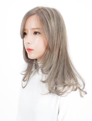 青木亚麻灰染发设计 韩式中长发梨花头图片大全